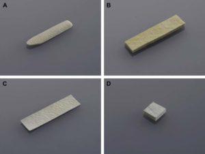 Hình 1. Các loại MegaDerm. (A) Loại cong và (B) loại khối được sử dụng để tăng cường sống mũi. (C) Loại khối được sử dụng để tạo đầu mũi. (D) Loại tấm dùng để bọc các mảnh ghép tự thân hoặc cấy ghép dị loại (L&C Bio, Gyeonggi-do, Hàn Quốc.)